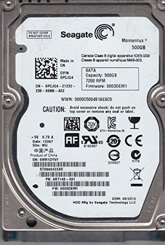 ST9500423AS, 5WR, WU, PN 9RT143-031, FW 0003DEM1, Seagate 500GB SATA 2.5 Festplatte