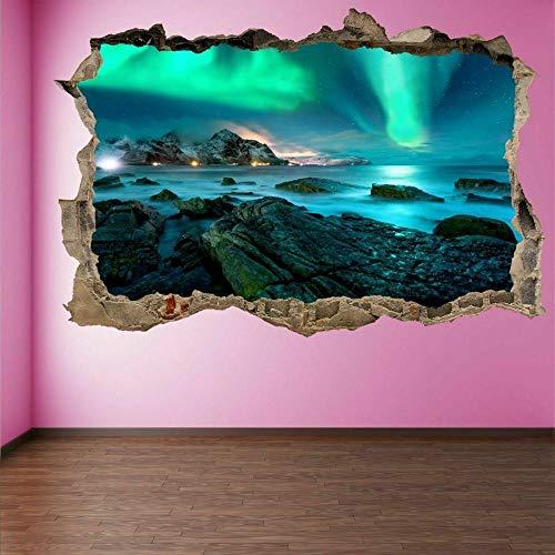 Etiqueta De La Pared 40X60 Cm Vista De La Naturaleza De La Aurora Boreal 3D Arte Pegatinas Diy Silueta Vinilo Calcomanías Para Pared Desmontables De Vinilo.