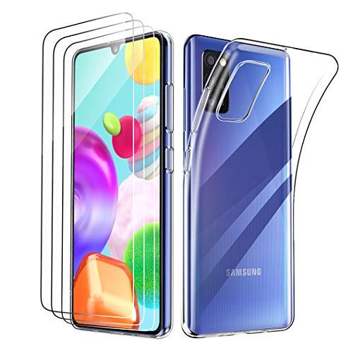 Oududianzi - Cover per Samsung Galaxy A41 + [3X Pellicola Protettiva in Vetro Temperato], Custodia Morbida Chiaro Sottile Case in Silicone Gel TPU - Trasparente
