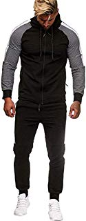 Men's Autumn Winter Pocket Sweatshirt Top Pants Sets Sports Outdoor Suit Tracksuit Coat Outwear