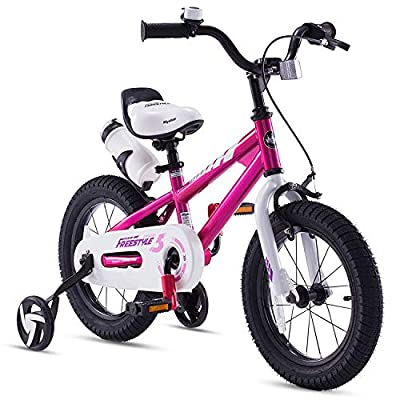 RoyalBaby Kids Bike Boys Girls Freestyle BMX Bicycle with Training Wheels Gifts for Children Bikes 12 Inch Fuchsia