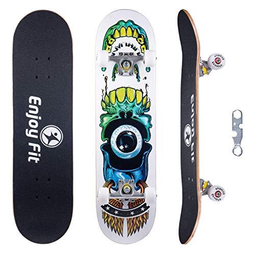 EnjoyFit Skateboard Komplettboard 80 x 20 cm mit ABEC-7 Kugellager 9-lagigem Ahornholz für Kinder Jungendliche und Erwachsene, Belastung 150kg (Hellseher)