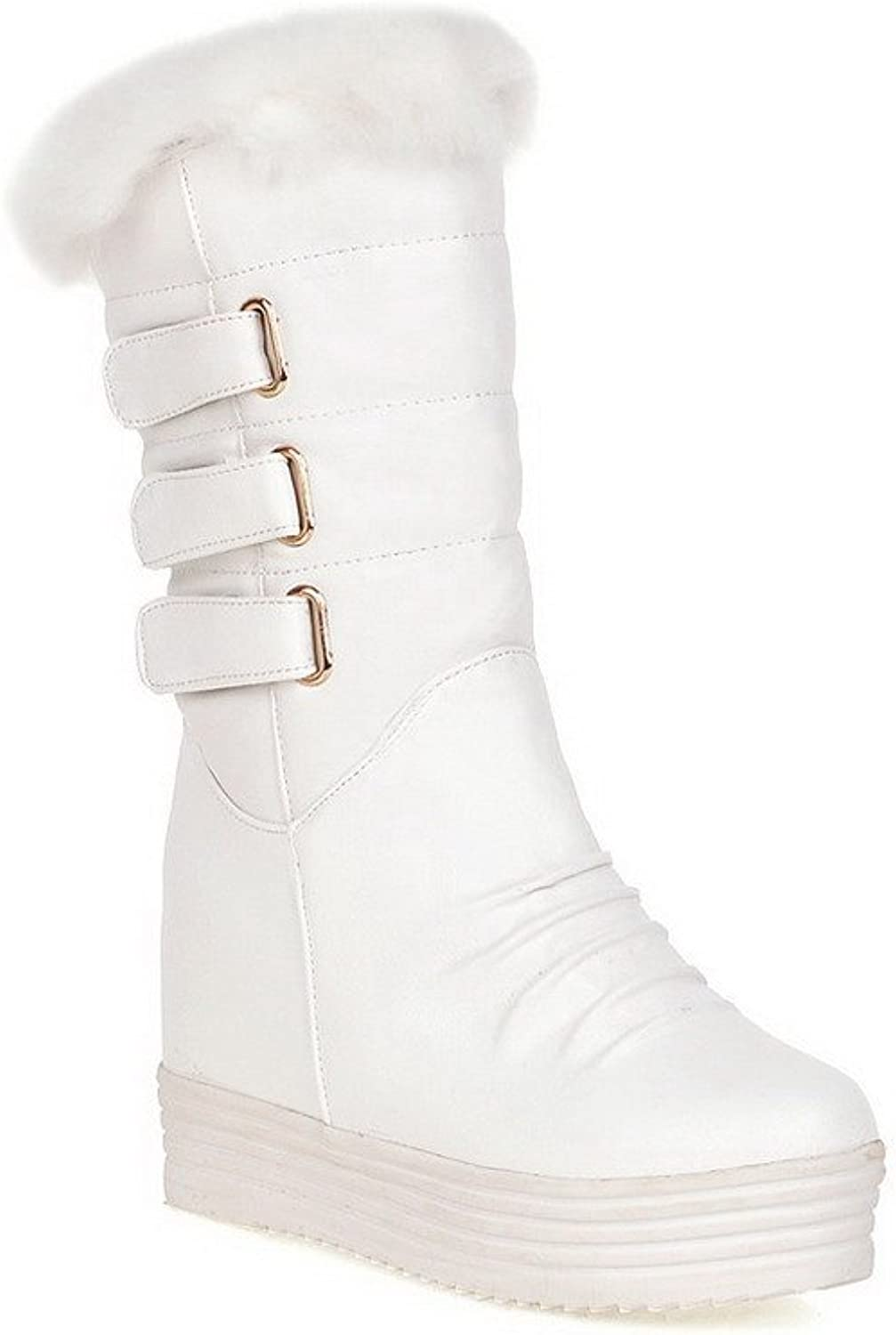 WeenFashion Women's Pu Mid Top Solid Pull On High Heels Boots