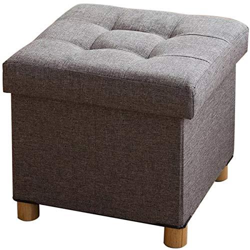 BRIAN & DANY Sitztruhe Sitzhocker Fußhocker mit Stauraum und Deckel mit Holzfüßen, 38 x 38 x 40 cm, Grau