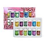 skrskr Aceite Esencial de aromaterapia de 3 ML, Aceite Esencial para humidificador, Aceite Esencial para aliviar el Dolor y el estrés, Juego de Regalo, Paquete de 12 aceites Esenciales aromáticos