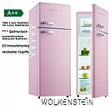 Wolkenstein GK212.4RT - Frigorífico de estilo retro en color rosa brillante, con...