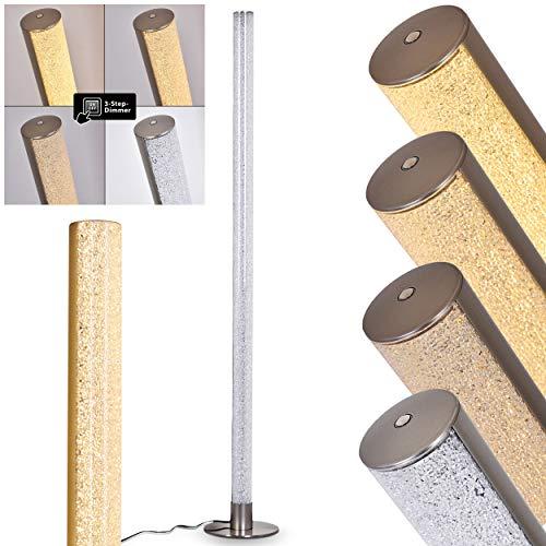 LED Stehlampe Pipe, dimmbare Stehleuchte aus Metall in Nickel matt, 1 x LED 14,5 Watt, 1200 Lumen, 3000 Kelvin (warmweiß), Standleuchte mit 3-Stufen Touchdimmer, Bodenlampe mit Glitzer-Effekt