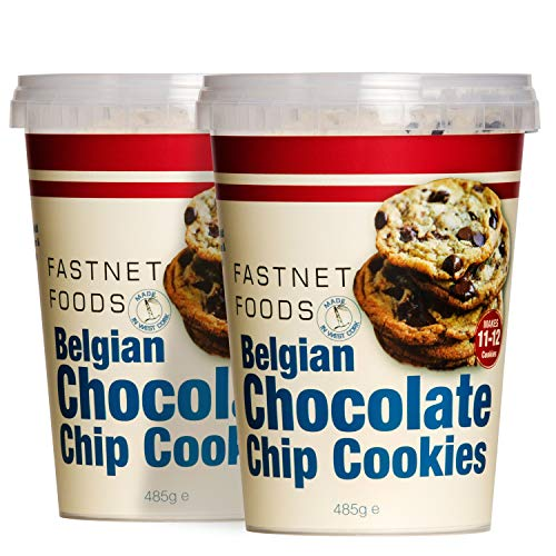 Fastnet Foods Chocolate Chip Cookie Mix - Soft & Chewy Chocolate Chip Cookies to Make Any Occasion Special - Delicious Belgian Milk Chocolate Chips - One Baking Mix Makes 12 Cookies - Pack of 2 Mixes
