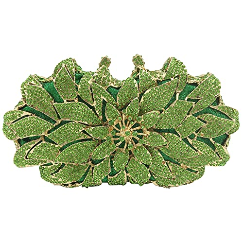 Elegant Flower Clutch Evening Bags for Women Wedding Party Crystal Purse and Handbags (Small,Light Green)