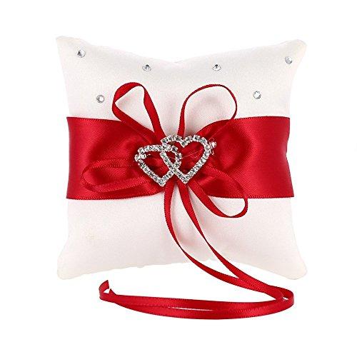MINGZE Anello Cuscino Anello di nozze portatore cuscino decorazione romantico matrimonio nastro bowknot fascino strass amore cuore cuscino dell\'anello (Rosso, 15 * 15cm)