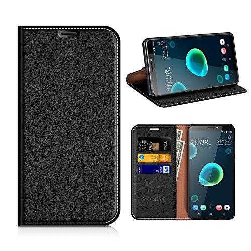 MOBESV HTC Desire 12+ Hülle Leder, HTC Desire 12 Plus Tasche Lederhülle/Wallet Hülle/Ledertasche Handyhülle/Schutzhülle mit Kartenfach für HTC Desire 12+ / 12 Plus - Schwarz