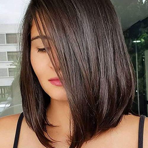 Queentas 14inch Shoulder Length Wig Short Bob Natural Looking Straight Synthetic Medium Hair Wigs for White Women with Wig Cap(Dark Brown #4)
