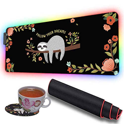 RGB Soft Gaming Mouse Pad Large and Coaster Set,Oversized Glowing Led Extended Mousepad,10 Lighting Modes,Non-Slip Rubber Base Computer Keyboard Pad Mat,31.5X 11.8in,Cute Baby Sloth on The Tree