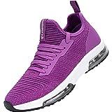 MHXDU Zapatillas Deportivas de Mujer Air Cordones Zapatos de Ligero Running Fitness Zapatillas de para Correr Antideslizantes Amortiguación Sneakers37 púrpura