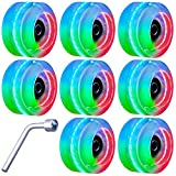 Tanzfrosch 8 Pack Roller Skate Wheels with Bearings Installed Luminous Quad Light Up Wheels for Double Row Skating and Skateboard 82A 32mm x 58mm