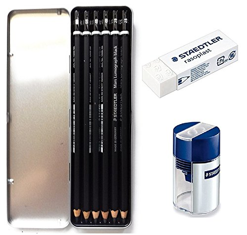Lumograph Black Artist Wooden Lead Pencil - Box of 6 (8B 6B 4B 4B 2B 2B) in Metal Box- with Tub 2-Hole Sharpener and Free Eraser