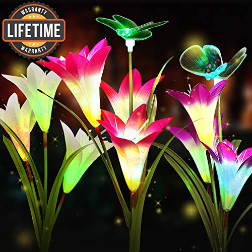 3-Pack Solar Flower Lights Outdoor,Solar Garden Decorative Lights,Solar Powered Garden Lights Outdoor Multi-Color Changing Lily Solar Flower Lights for Patio,Yard Decoration(Pink,White,Purple)