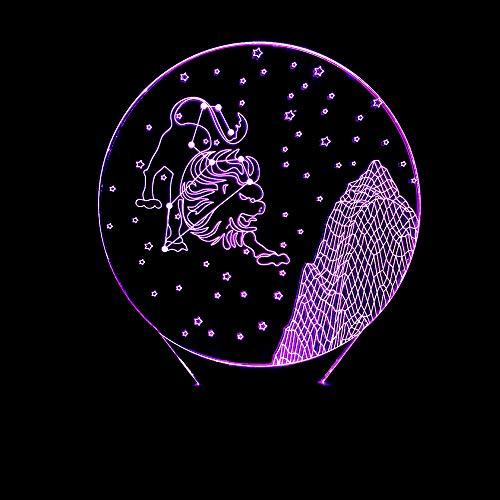 Nachtlampje LED 3D illusie 7 kleuren verloop Valentijnsdag sterrenbeeld Leo Touch kleine tafellamp stereo tafellamp cadeau voor kinderen