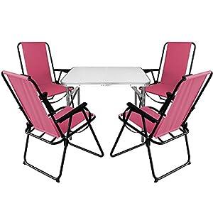 Multistore 2002 5tlg. Campingmöbel Set Aluminium Klapptisch 75x55cm + 4X Campingstühle Pink, klappbar inkl. Schultergurt…