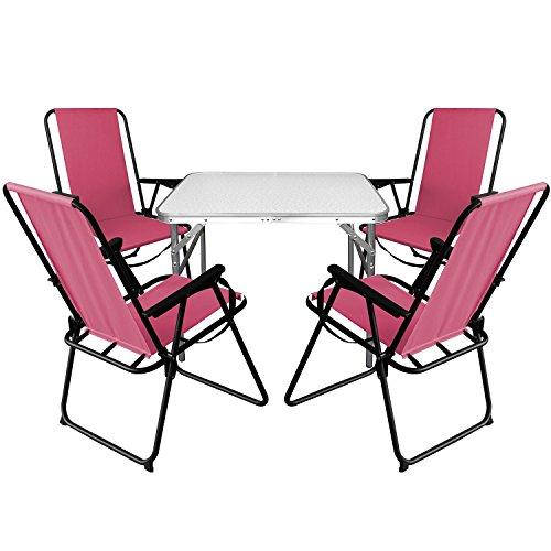 Multistore 2002 5tlg. Campingmöbel Set Aluminium Klapptisch 75x55cm + 4X Campingstühle Pink, klappbar inkl. Schultergurt, Gartenmöbel...