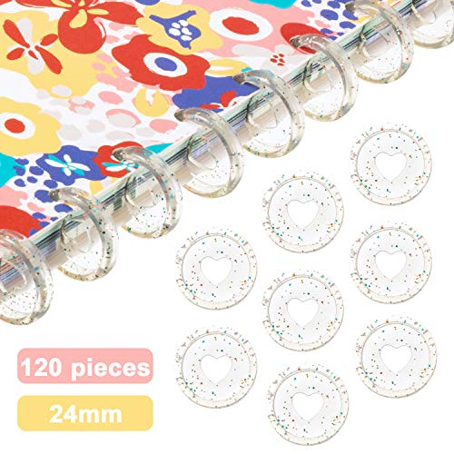120 Pieces Plastic Heart Book Binding Discs Discbound Expansion Discs Binder Rings for DIY Notebooks Planners (Clear with Sequins)