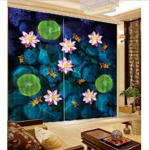 ZHYY Fenster Verdunkelungsvorhänge Drucken 3D-Vorhänge Stein Lotus im Wasser Vorhänge Kinderzimmer Schlafzimmer Gardinen breit203cm hoch160cm
