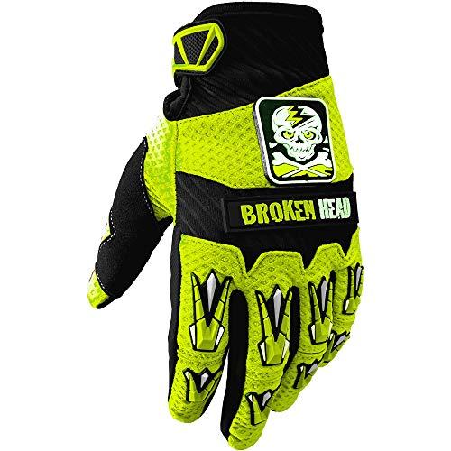 Broken Head MX-Handschuhe Faustschlag - Motorrad-Handschuhe Für Motocross, Enduro, Mountainbike - Neon-Gelb (L)