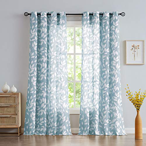NATWIN Blue Semi-Sheer Curtains for Living Room Windows 95' Long White Print Leaf Curtains for Bedroom Grommet Top Curtain Panels, 1 Pair