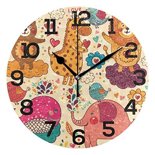 AMONKA - Reloj de Pared Redondo, diseño de Elefante y Ballena, diseño de Osito de Tigre