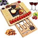 Natural Bamboo Cheese Board & Cutlery Set with Slide-Out Drawer and Knife,Charcuterie Platter & Serving...