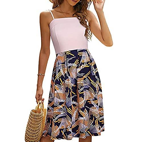 FOTBIMK Vestido sin mangas de verano estampado floral de costura vestido de cintura media honda princesa Swing vestido
