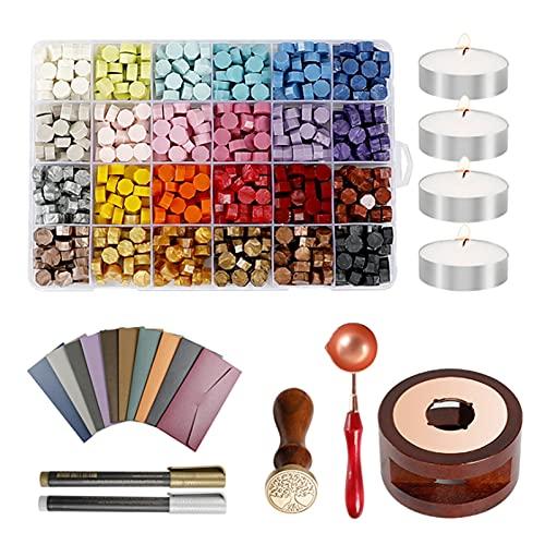 Decdeal Kit de carimbos de cera para selo de cera e letras, 600 peças de contas de cera de vedação com 24 cores, cabeça de carimbo de cera, colher de cera, envelopes vintage, para cartões, artesanato e decoração