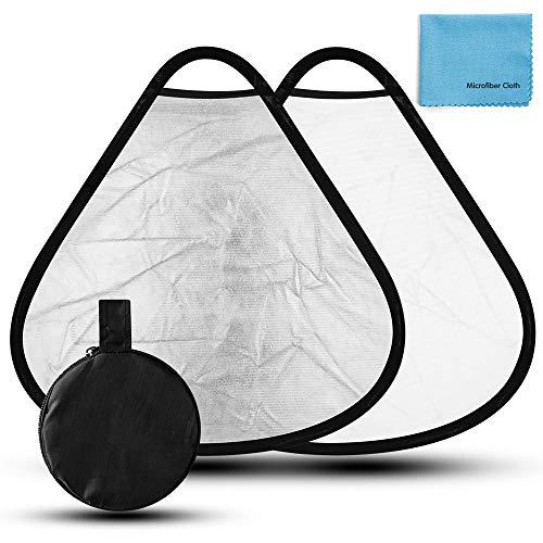 Fotover 30cm 2 in 1 Dreieck Faltreflektor/Lichtreflektor mit Handgriff und Tragetasche Fotografie Studio