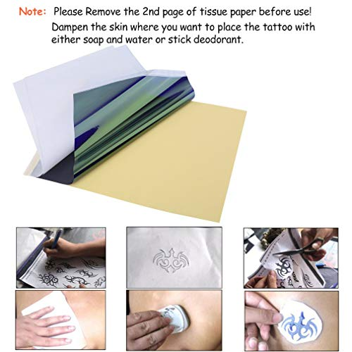 SLSY Tattoo Transfer Paper 100 Sheets, Thermal Stencil Paper for Tattooing, Tattoo Transfer Kits, DIY Tattoo Tracing Paper to Skin, A4 Size