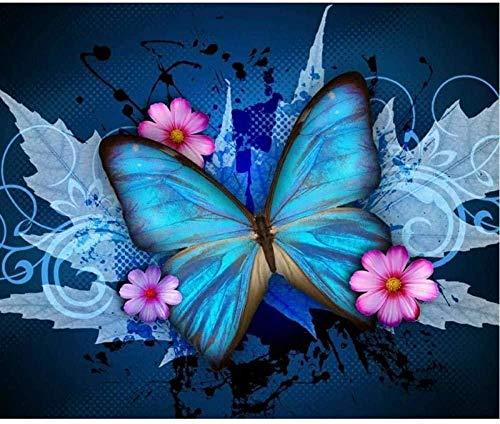 PQGHJ Pintura de Diamante Completo 5D Daimond Pintura Interruptor Cruzado Flor de Mariposa Pintura de Diamante Redondo Pintura de Diamantes de imitación Bordado 40 X 50 Cmch