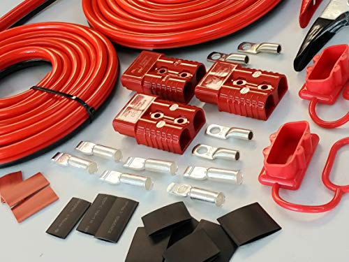 PolePalUSA 32ft DIY Winch Jump Booster Permanent (or Non perm) Quick Connect Trailer 1ga - Red