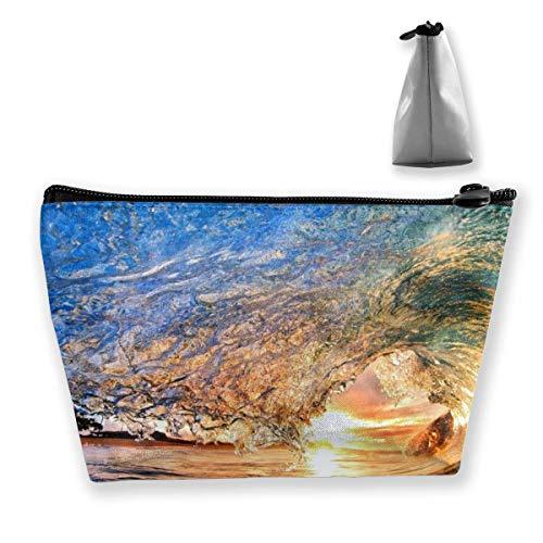 Hawaiian Wave Wallpaper Frauen Kosmetiktaschen Multifunktions-Toilettenartikel-Organizer-Taschen, Hand tragbarer Beutel Travel Wash Aufbewahrungskapazität mit Reißverschluss (Trapez)