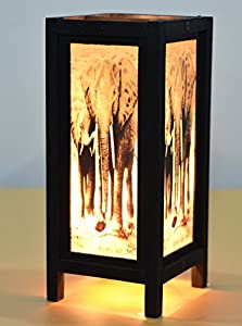 NAVA CHIANGMAI Decorative Lamp Thai Vintage Handmade Asian Oriental African Elephant Bedside Table Light Floor Wood Paper Lamp Shades Home Bedroom Garden Decoration Modern Design