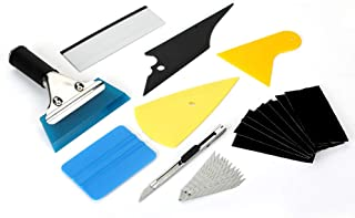 METERIO Car Window Wrapping Tint Film Installing Tools, 9 Pcs Complete Application Tools Set for professional and daily use, Vehicle Vinyl Wrap Tool Including Felt Squeegee, Film Scrapers, Film Cutter