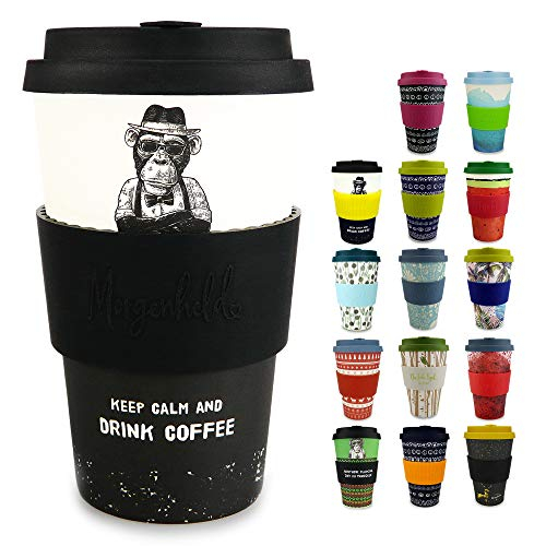 Morgenheld Dein trendiger Bambusbecher | Coffee-to-Go-Becher | Kaffeebecher mit Silikondeckel und Banderole in coolem Design 400 ml (Monkey)