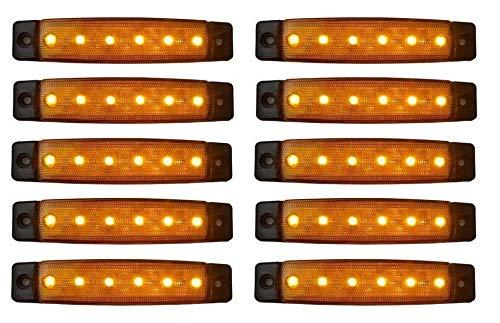 10x 6 LED Gelb Begrenzungsleuchten 12-24V Volt Positionsleuchten Seitenleuchten LKW PKW Anhänger Umrissleuchten