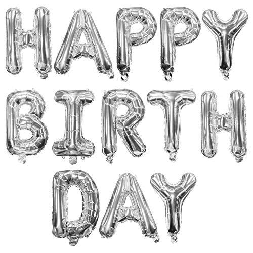 Adorox 16 Inches Happy Birthday Metallic Aluminum Foil Birthday Balloon Banner (Silver)