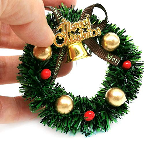 Shimigy Miniature Christmas Wreath , for 1:12 Mini Dollhouse Mini Scene Model Furniture Accessories Decorations Door Ornaments Kid Pretend Play Toy Gifts Collection