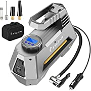 Digital Tyre Inflator, FYLINA Preset Air Compressor Tyre Pump Car Pump, 12V 120W 120PSI Tyre Pump with Larger Air Flow 35L/Min, 3 Nozzle, Super Bright LED Light, Large LED Screen for Cars /Motorcycle