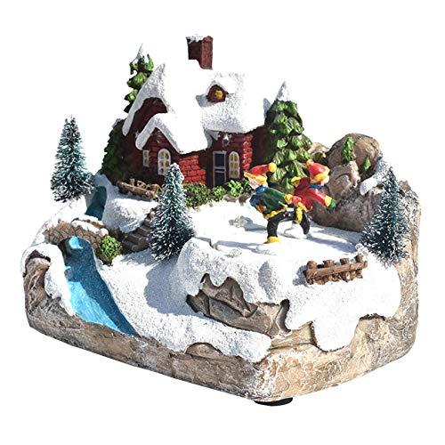 Yoouo LED-Leuchthaus, Animiertes Musikdorf, Weihnachtsharz-Leuchtturm, Simulationsszenen-Dorfhaus-Stadtverzierungen, Für Weihnachtswinterparty-Gartendekoration