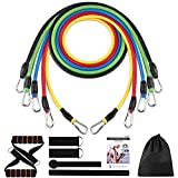 Yunjetech Resistance Bands Set, Rubber Workout Bands with Door Anchor, Handles and Leg Ankle Straps for Exercise, Elastic Resistant Fitness Bands for Working Out for Man and Women
