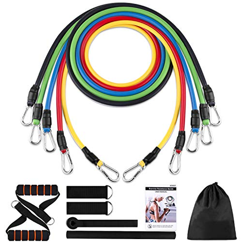 Resistance Bands Set, Rubber Workout Bands with Door Anchor, Handles and Leg Ankle Straps for Exercise, Elastic Resistant Fitness Bands for Working Out for Man and Women