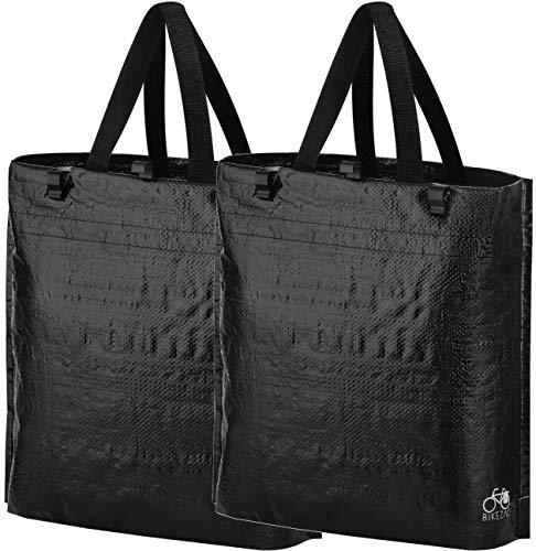 BikeZac Shopper Einkaufswagen Set | Fahrrad Einkaufstasche Gepäckträger | Schwarze faldbare Fahrradtasche | Wiederverwendbare Tasche schwarz | Recycling Bag | Einkaufen | Black Plain 2 x