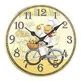 ufengke Reloj de Pared Cocina Madera Vintage Reloj Quartz Rustico un Cocinero Feliz en Bicicleta Pare Comedor, Diámetro 30cm