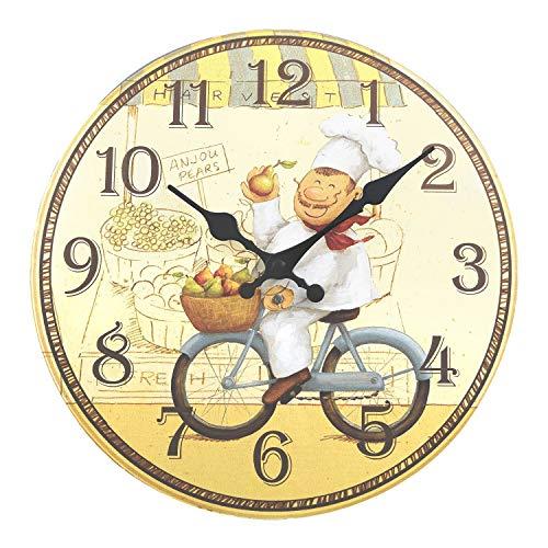 ufengke Orologio da Parete in Legno Cucina Rustici Orologio da Muro al Quarzo Cuoco Felice in Bicicletta, Diametro 34 cm
